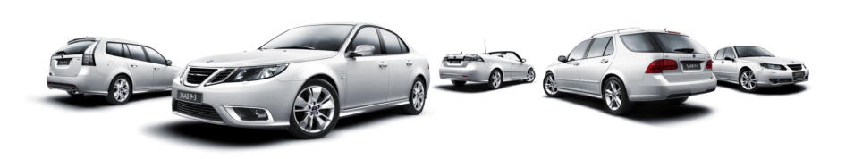 SAAB range of vehicles in silver.