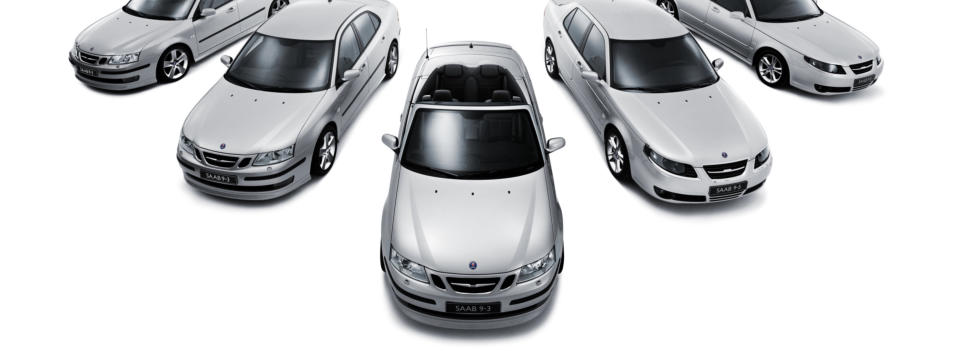 SAAB cars, in silver.